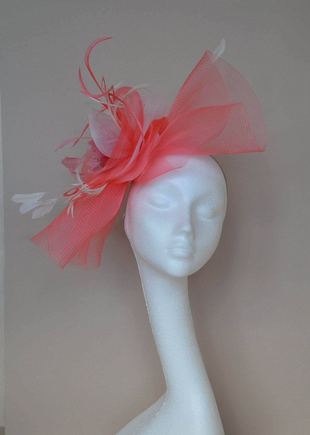 Coral pink and ivory fascinator. Flamingo pink fascinator. Pink and ivory  hat. Wedding hat. Ascot hat. Derby hat. Garden party fascinator. by  jaracedesigns ... e00cc49f3c8