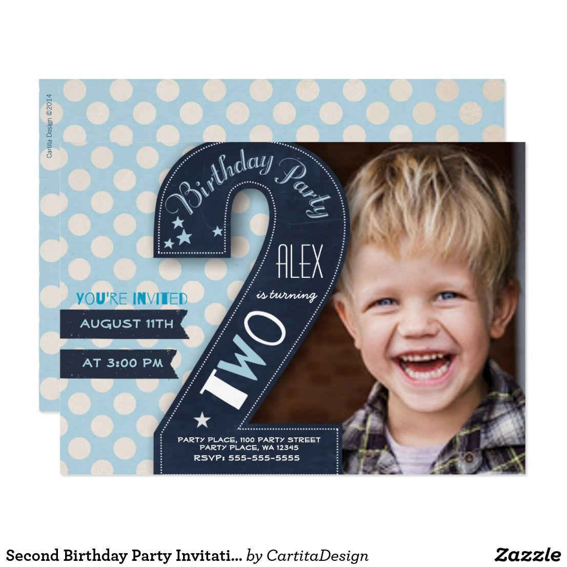 blue dot second birthday invitation