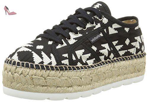 Victoria Basket Geometrico Plataforma Yute, Sneakers Basses Mixte Adulte, Noir (10 Negro), 39 EU