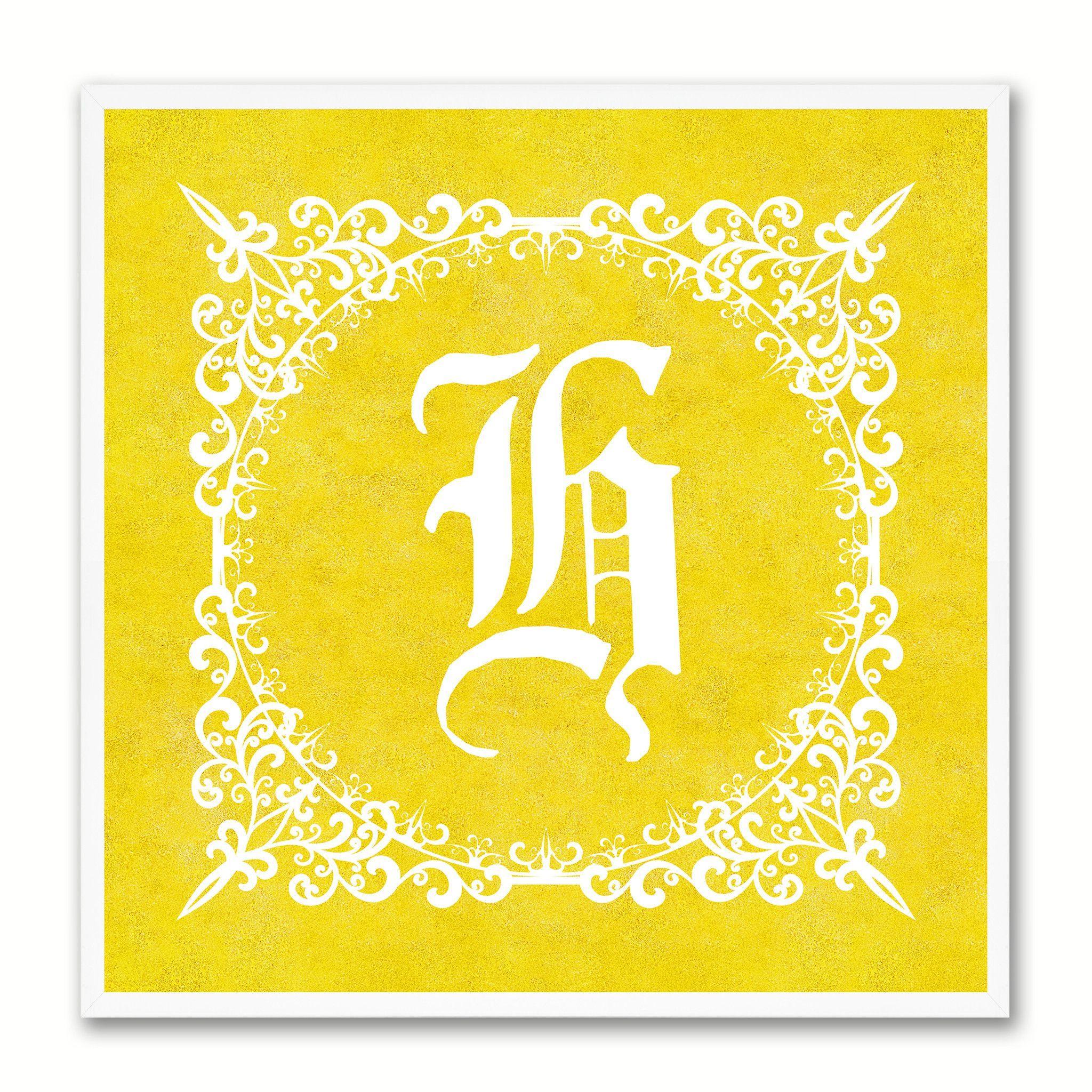 Alphabet H Yellow Canvas Print White Frame Kids Bedroom Wall Décor ...