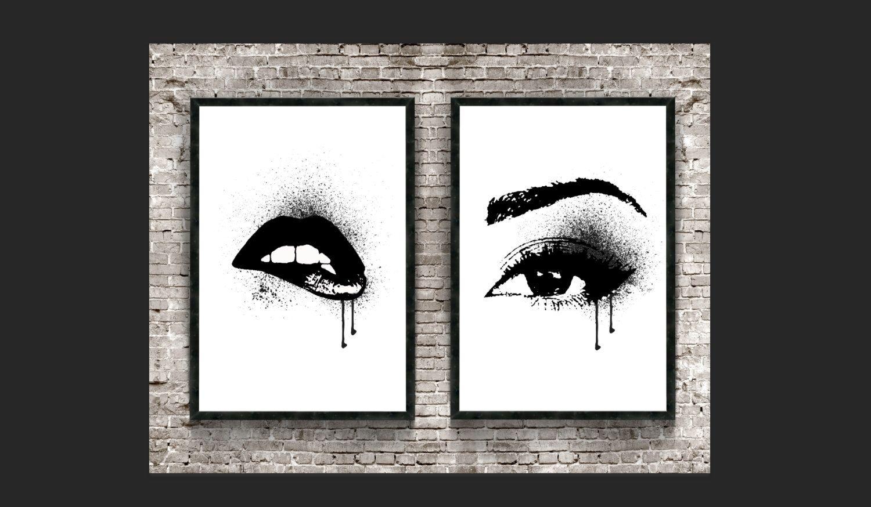 BATHROOM BEHIND TUB https://www.etsy.com/listing/479914819/set-of-2-make-up-eyes-lash-lips-print
