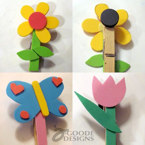 Cute flower clothespin magnets craft foam artcraft for Mini clothespin craft ideas