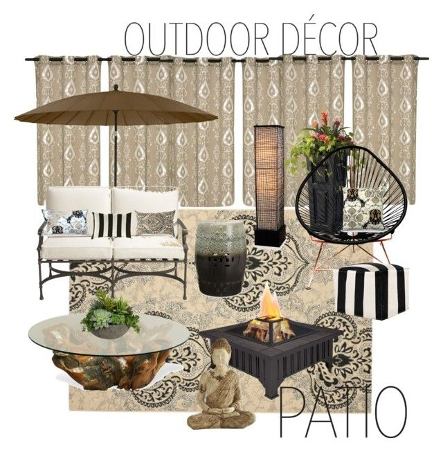 """Zen Patio"" by mariea23 ❤ liked on Polyvore featuring interior, interiors, interior design, home, home decor, interior decorating, Ethan Allen, Safavieh, Frog Hill Designs and Grandin Road"