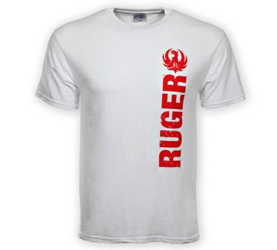 e0a965f1 Ruger ® Logo white T-Shirt features a red, distressed Ruger logo and is  made of a 50% cotton / 50% polyester blend.