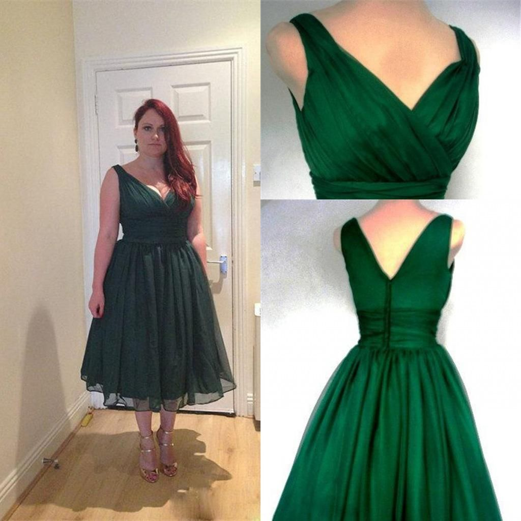 2016 Bridesmaid Tea Length Dresses V Neck Zipper Back Dark Green ...