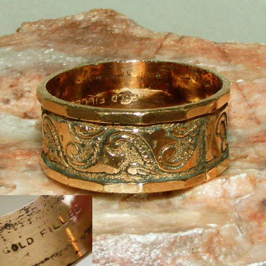 Antique Victorian Mens or Thumb Ring Signed Gold Filled Hand