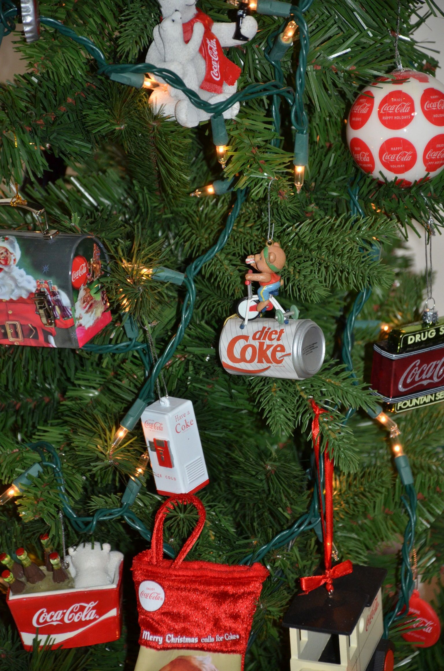 Ornaments On Our Coca Cola Christmas Tree