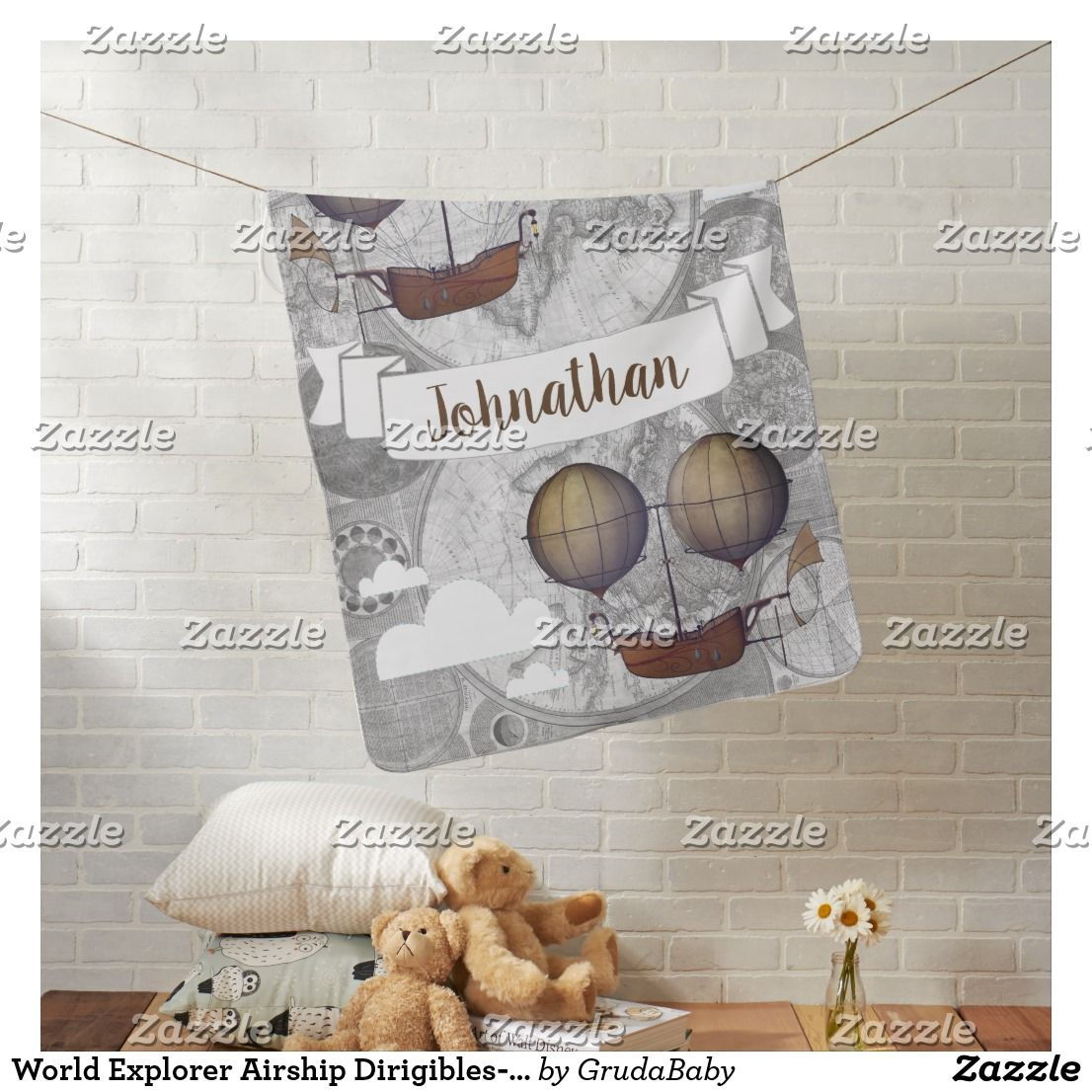 World explorer airship dirigibles personalized baby blanket