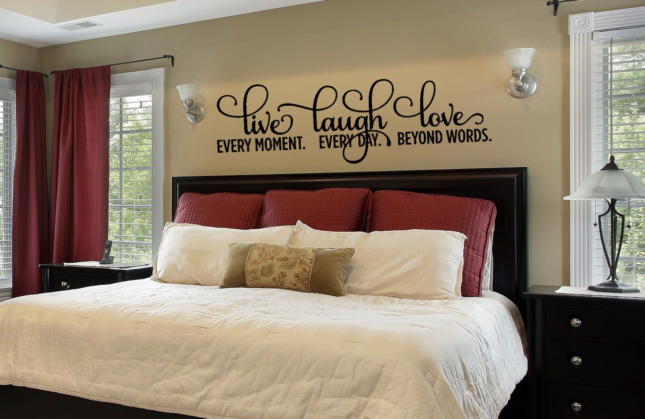 Bedroom decor bedroom wall decal live laugh love decal