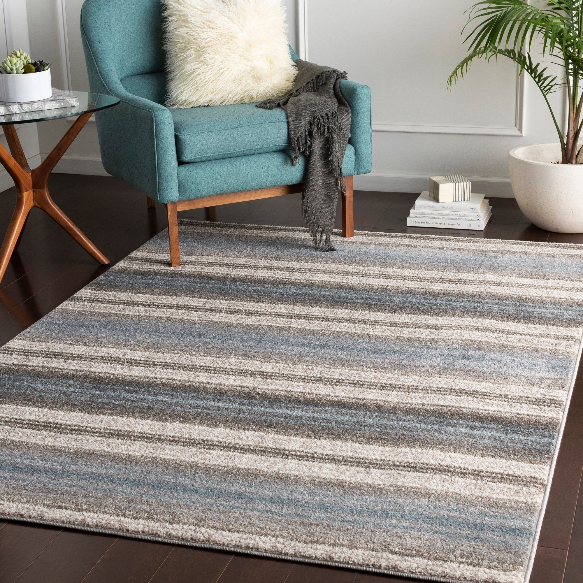 Parsifal Blue Casual Stripes Area Rug 7 10 X 10 3 Rugs Online Home Decor Stores Area Rugs