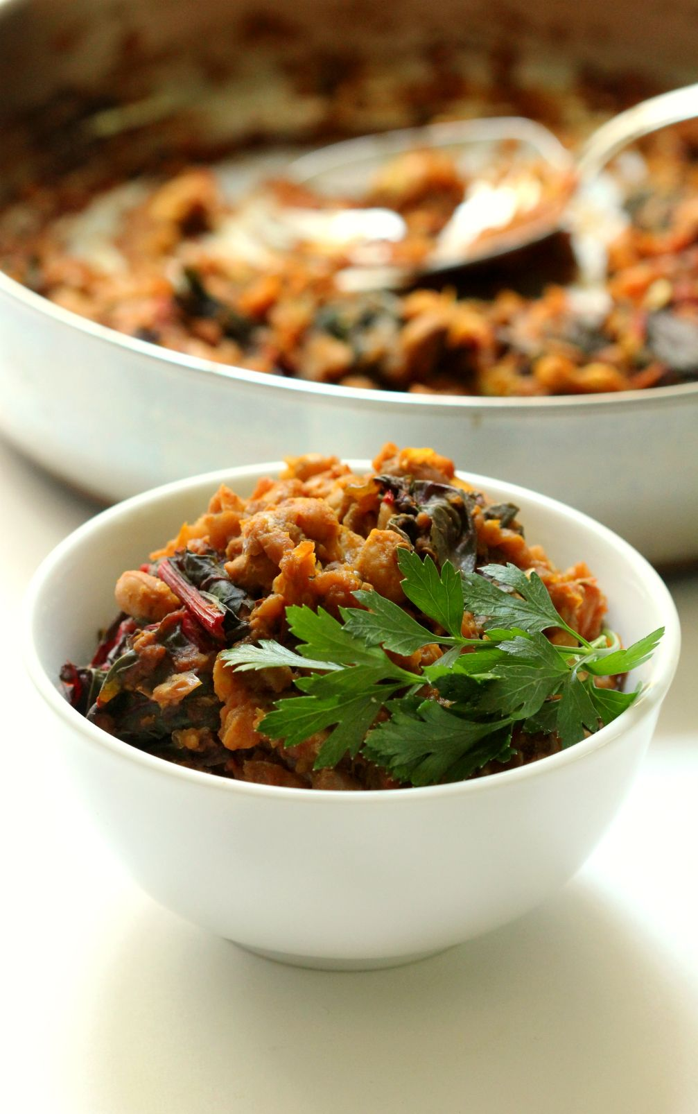 Black Eyed Pea Curry With Swiss Chard Roasted Eggplant