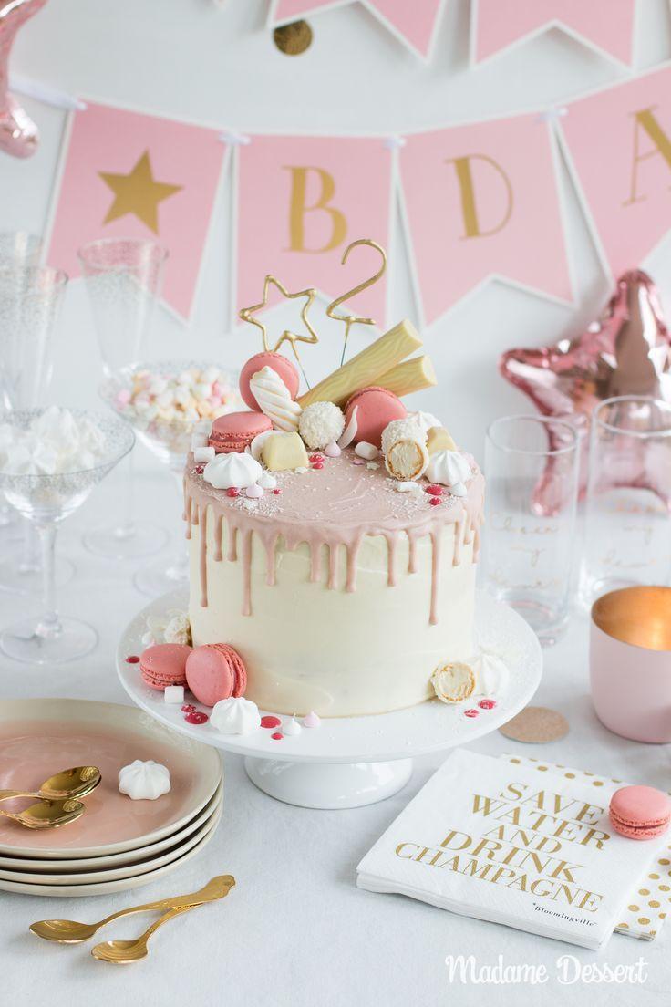 Candy Drip Cake Geburtstagstorte mit Himbeeren & Kokos #cakedesigns