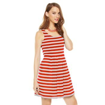ELLE Striped Eyelet Fit and Flare Dress