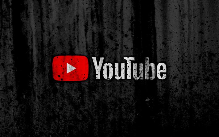 Download wallpapers YouTube, 4k, logo, grunge, black