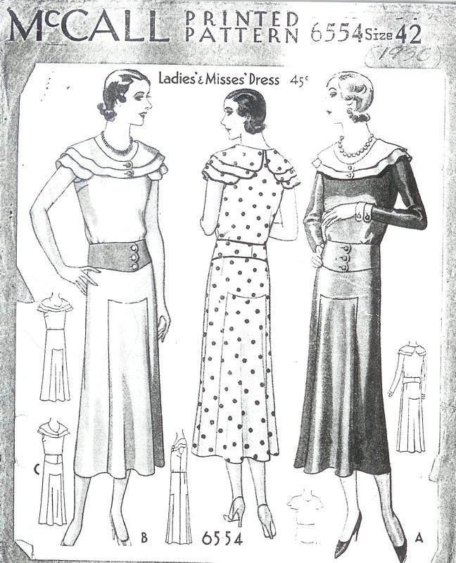 McCall 6554 | ca. 1931 Ladies\' & Misses\' Dress | 1930s McCall Sewing ...
