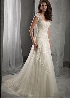 Elegant Tulle Scoop Neckline Natural Waistline Aline Wedding