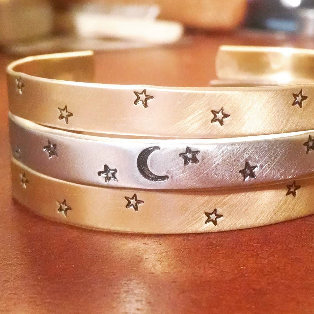 Making some galaxy cuffs to ship out tomorrow.  Cuffs are brass and aluminum.