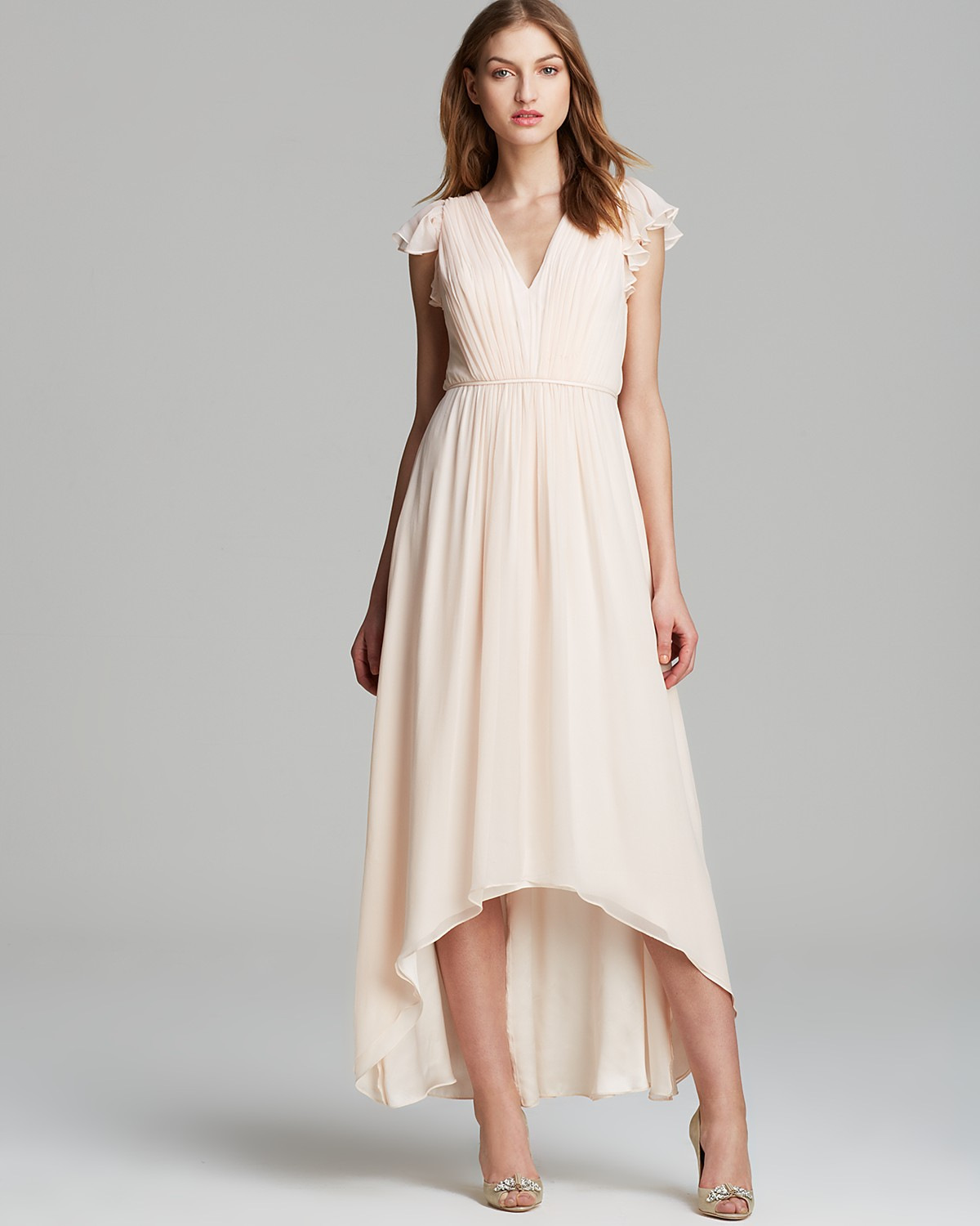 Jill Stuart Dress V Neck Ruffle Sleeve Chiffon With High Low Hem