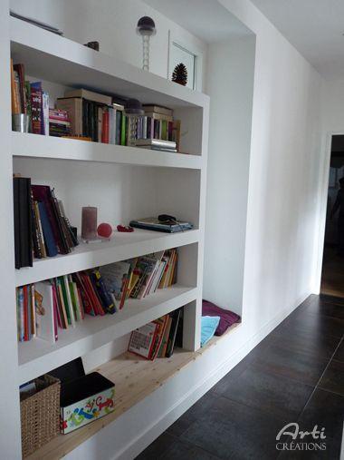 Bibliothèque intégrée au mur | salon | Déco maison ...