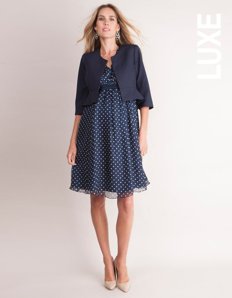 a8c968f519b Navy Blue Polka Dot Silk Maternity Dress