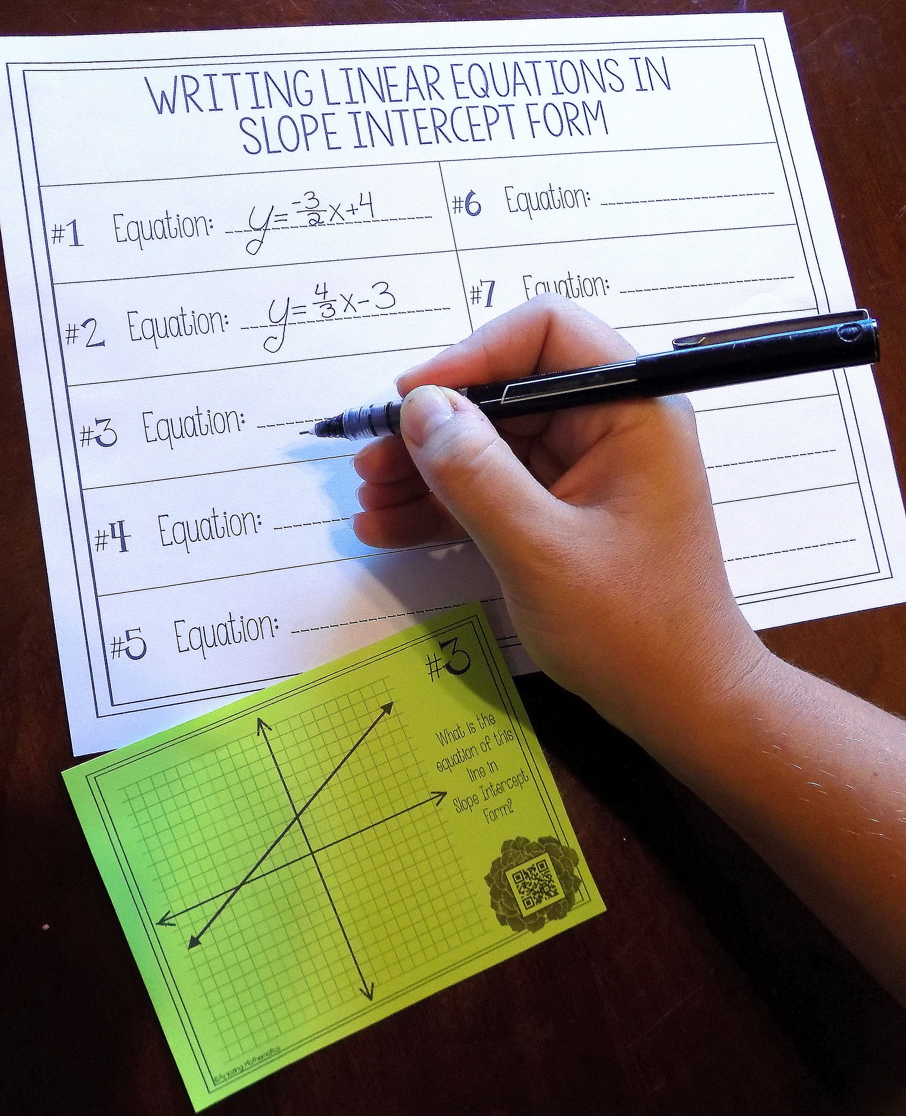 Writing Linear Equations In Slope Intercept Form Task Card