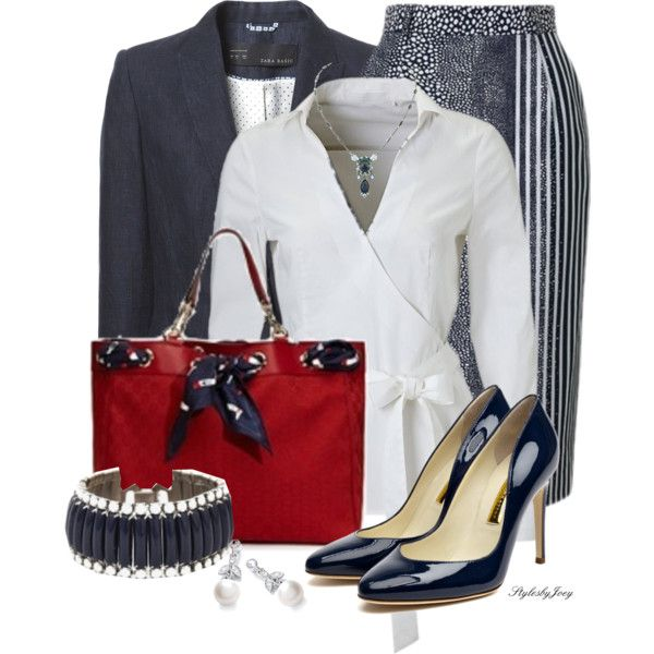 Striped Pencil Skirt - Red White and Blue by stylesbyjoey on Polyvore