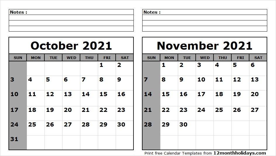 2021 October November Calendar Wallpaper