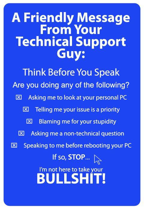 Technical Support Jobs Suck | Technical Support | Pinterest | Humor ...