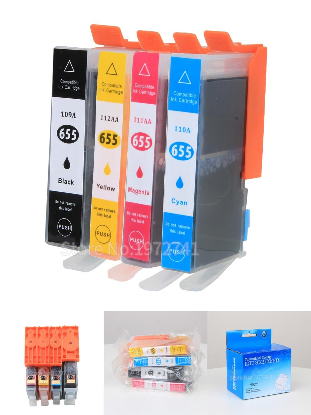 [Visit to Buy] Printer Ink  Cartridges with Chip for HP 655  compatible  for HP deskjet  4615 4625 CZ109AE CZ110AE CZ111AE CZ112AE Printers  #Advertisement