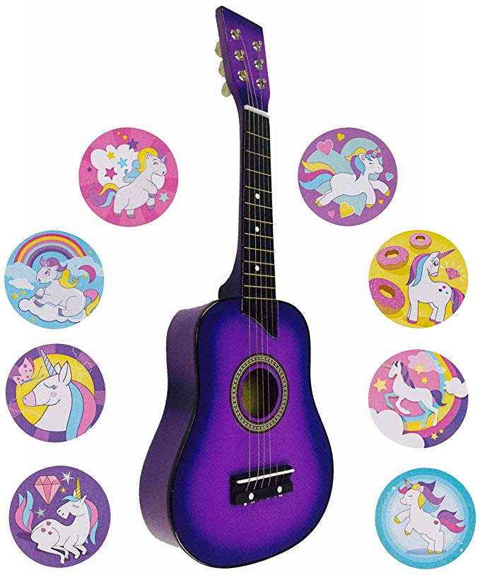Amazon Com Purple Guitar For Kids 25 Acoustic Beginners W 100 Unicorn Stickers Musical Instruments Purple Guitar Guitar Kids Guitar