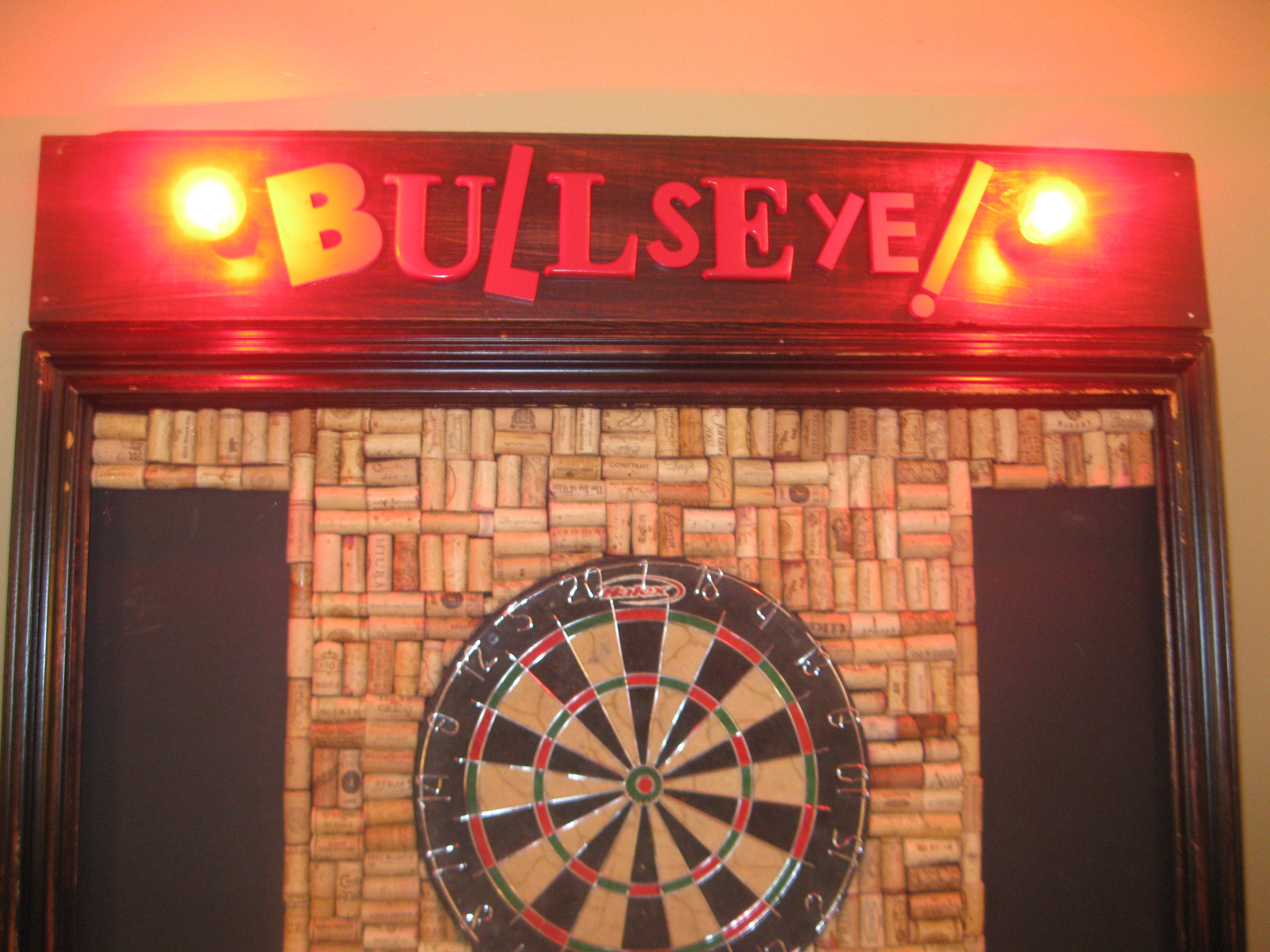 Made From Salvage Dartboard. Old Picture Frame, Red Lights, Salvaged  Letters, Dart