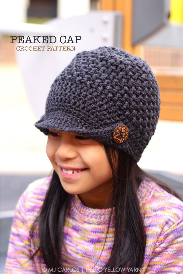 e8c28537368 Peaked Cap - free crochet pattern in child to adult sizes by MJ Carlos at  Hello Yellow Yarn.