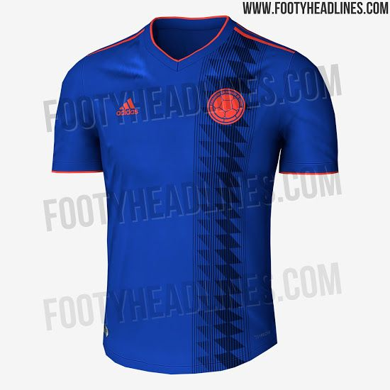 7d682458837 The Adidas Colombia 2018 World Cup away kit introduces an outstanding  design in blue and bright orange, based on Adidas' brand-new Climachill  template.