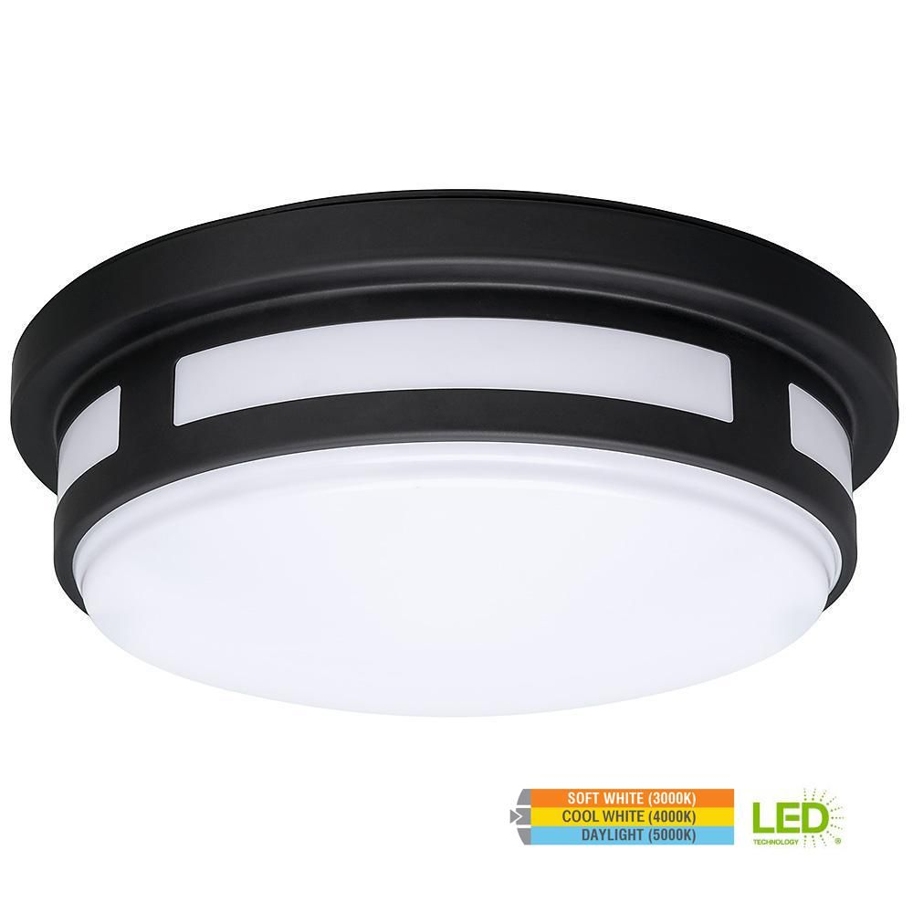 Hampton Bay 11 In Round Black Led