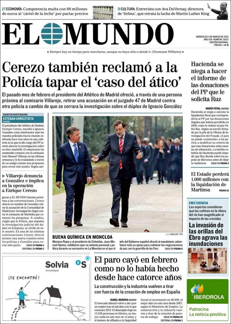 El Mundo. www.elmundo.es, incluye todas las secciones y suplementos de este diario. Además apartados especiales sobre libros, viajes, salud, economía, motor, o internet.