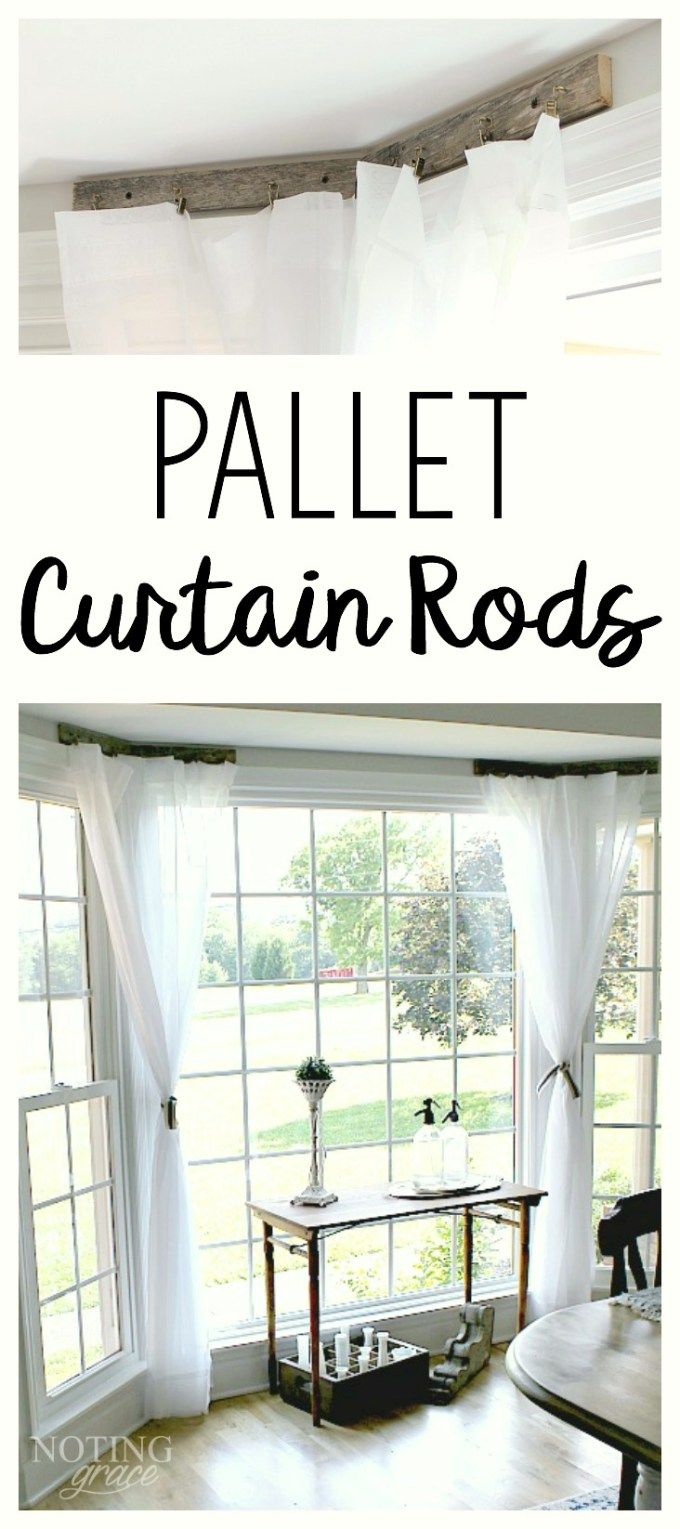 Window cover up ideas  pallet curtain rods  new house ideas  pinterest  pallets window