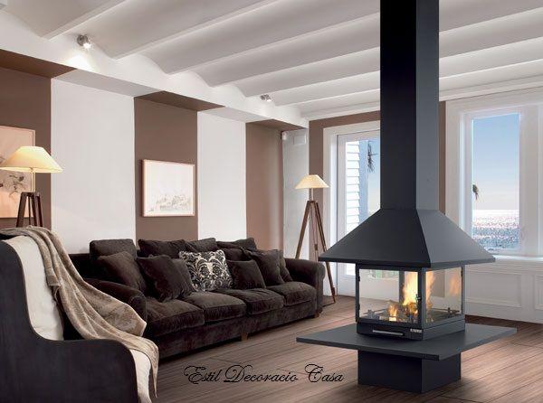 chemin e centrale foyer ferm avec 4 vitres chemin e m tal chemin es et d co pinterest. Black Bedroom Furniture Sets. Home Design Ideas
