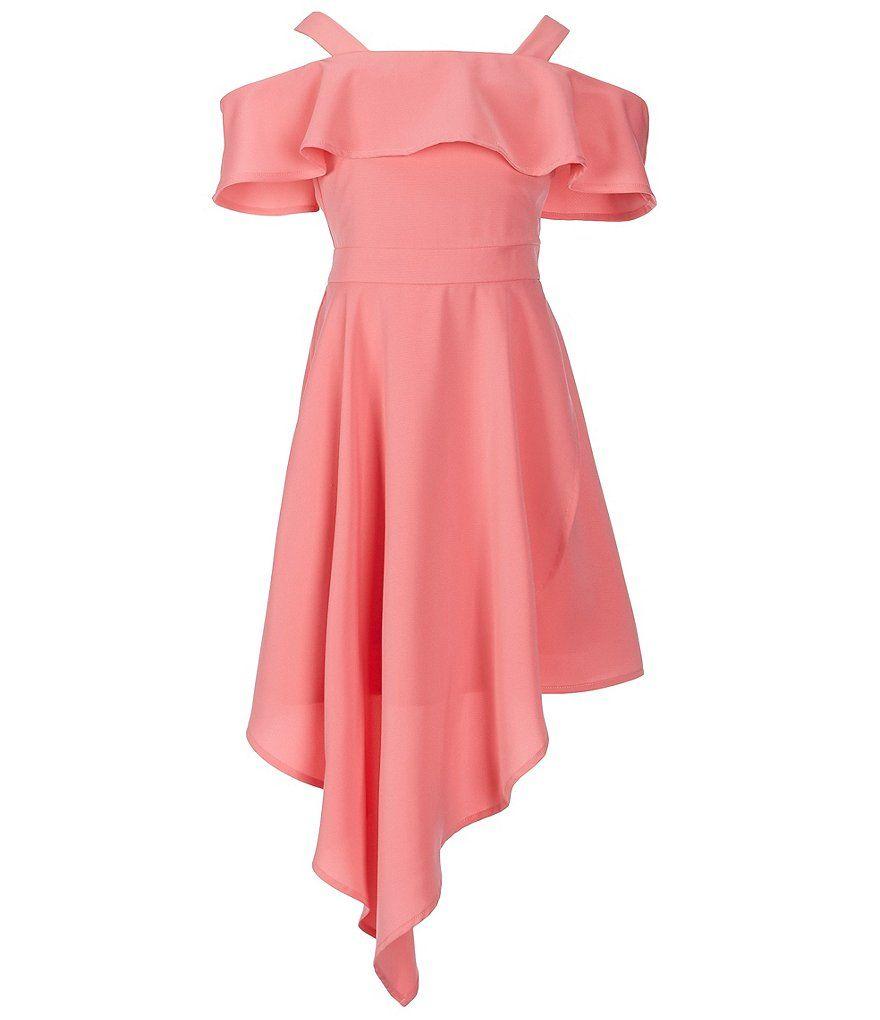 c1ca0a4156ce62 GB Girls Big Girls 7-16 Cold-Shoulder Asymmetrical-Hem Dress