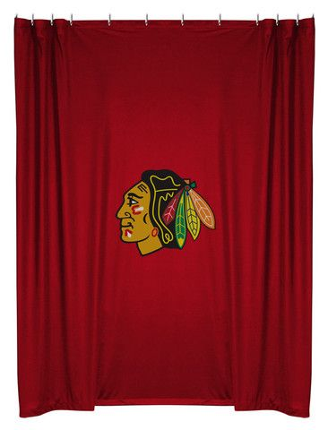 No better way to have your morning shower than with this Blackhawks logo shower curtain.  Don't you agree?