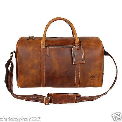 """NEW 21/"""" Black Leather Duffle Tote Bag Gym Carry On Mens Travel Overnight Luggage"""