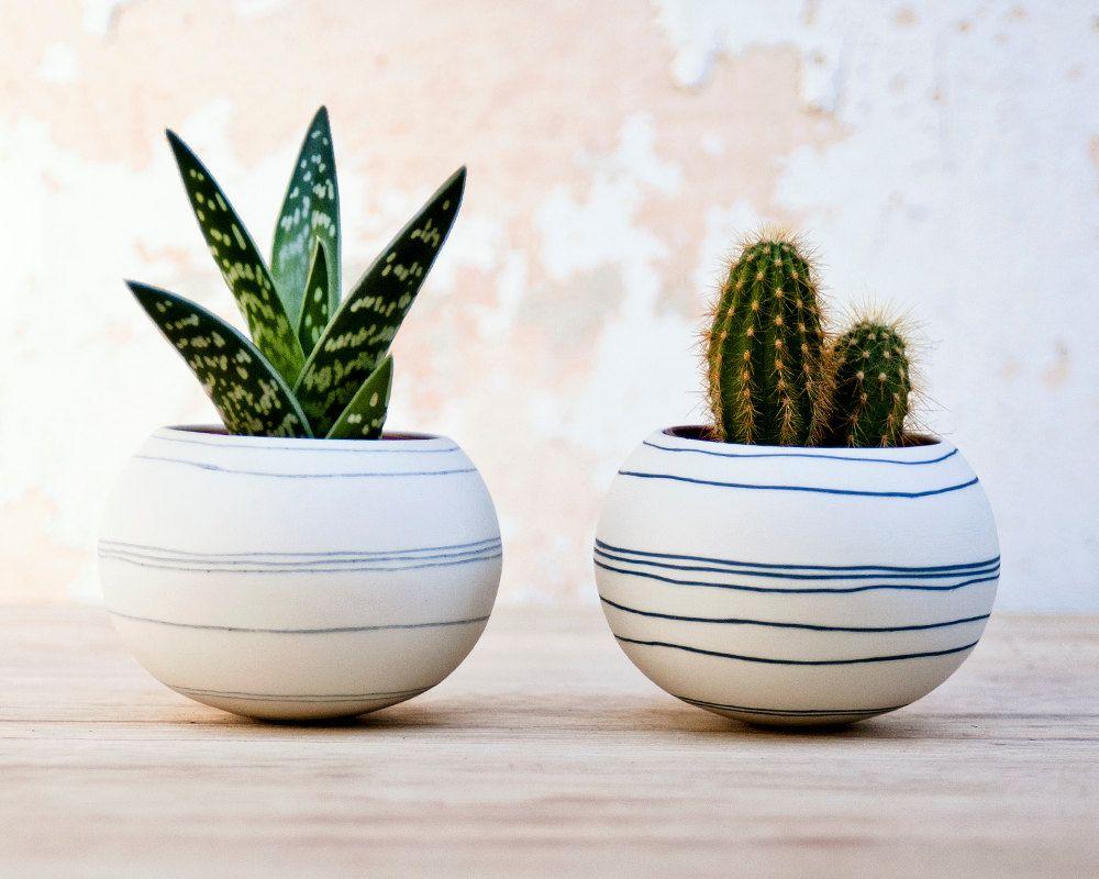 Colorful Porcelain Planter Light Gray Stripes Ceramic 640 x 480