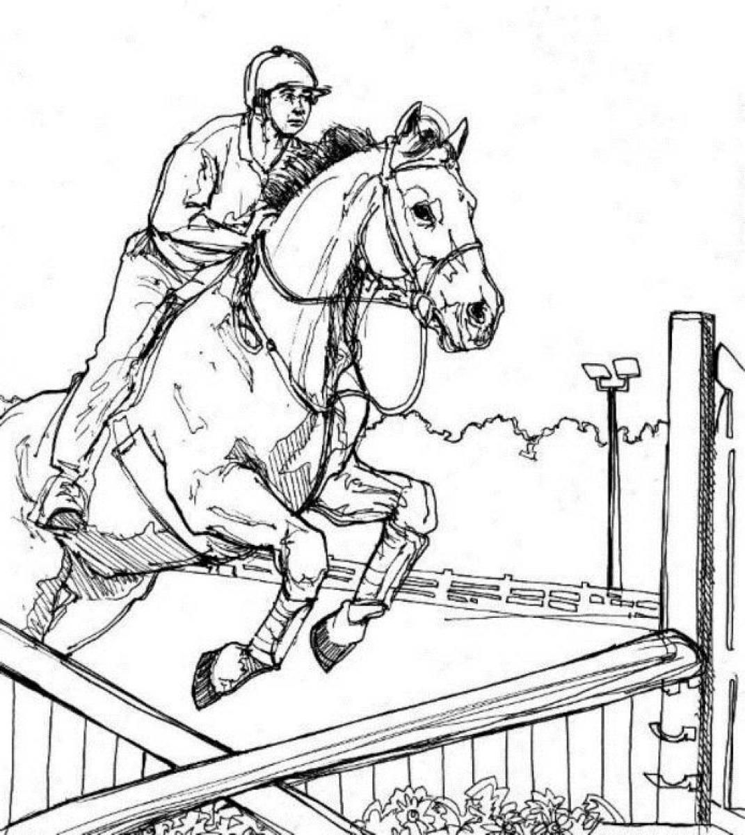 Jumping Horse Animal Coloring Pages Kids | Color: Horses Competition ...