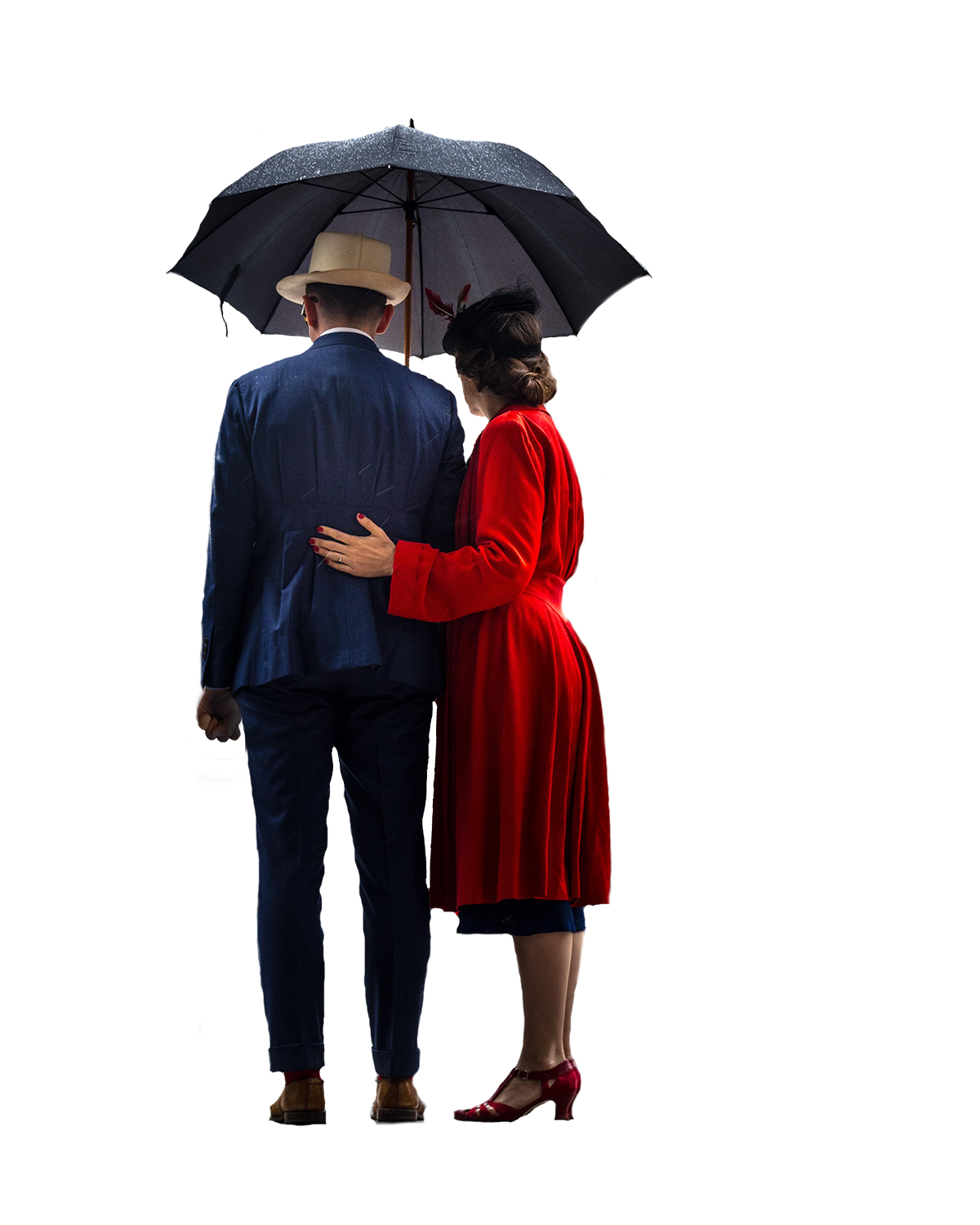 Couple Standing Under An Umbrella.