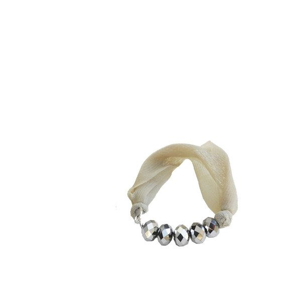 Cream fabric BRACELET  textile bangle with silver by lillicose, $16.35