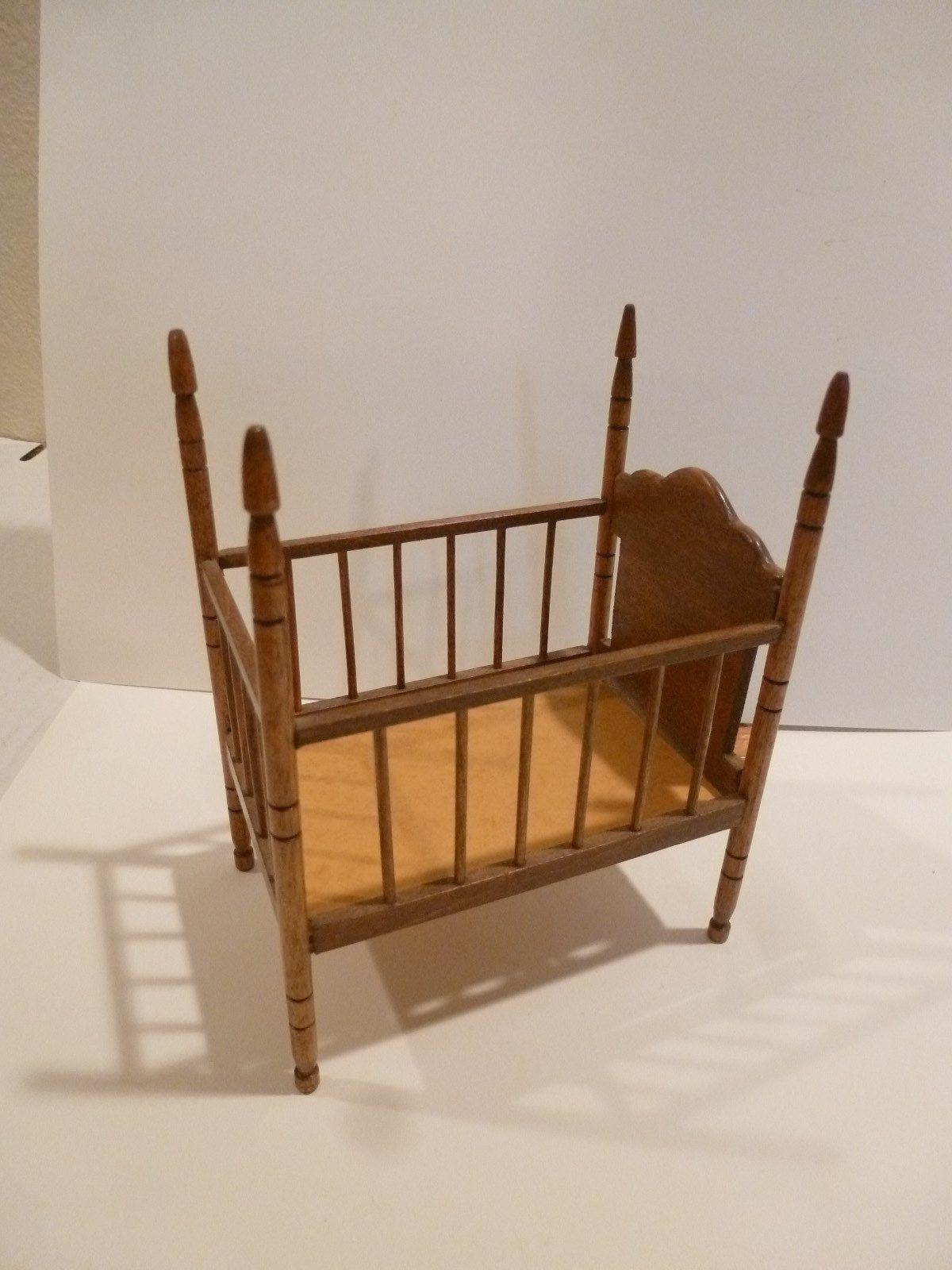 Beautiful Miniature Handmade Wood Baby Crib Signed Greg H ...