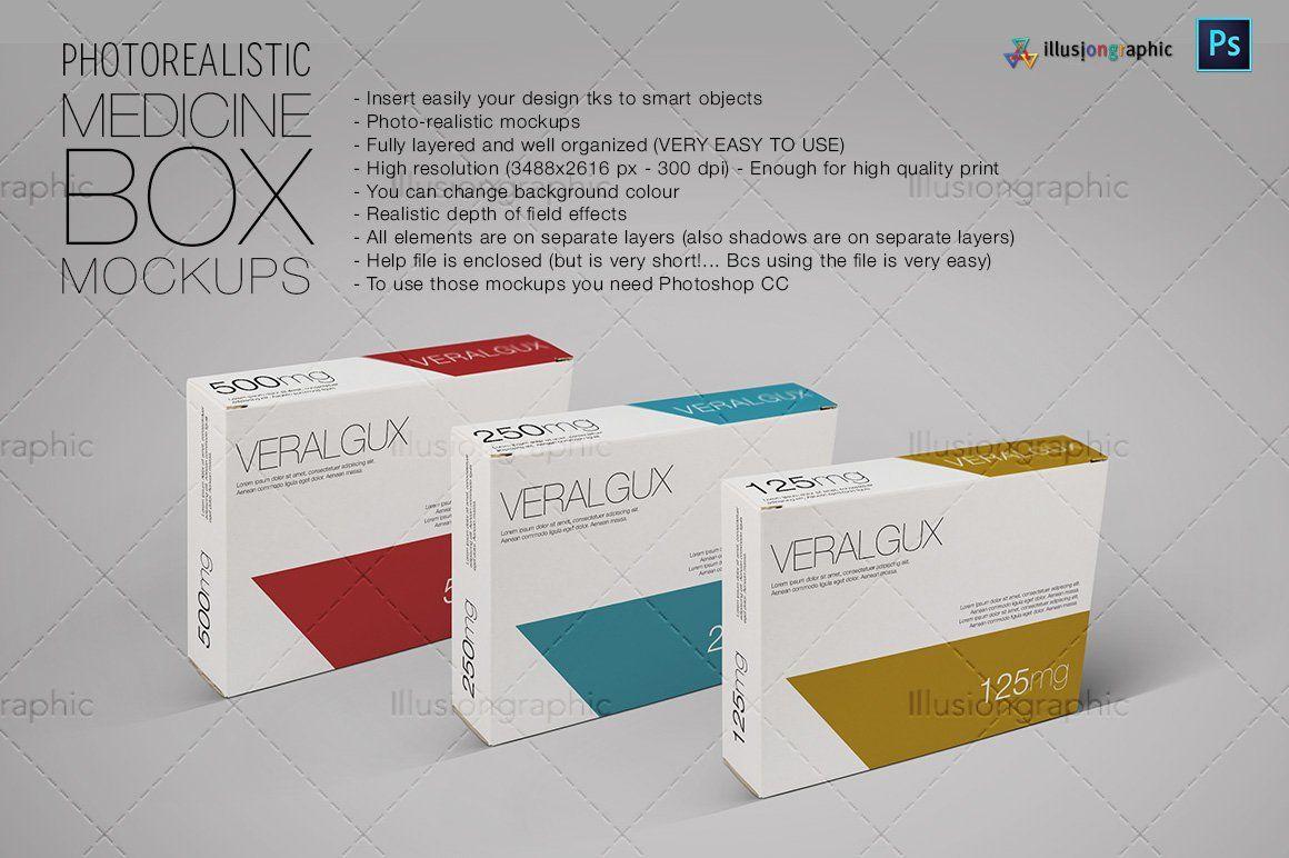 Download Photorealistic Medicine Box Mockups Box Mockup Medicine Boxes Medicine Packaging