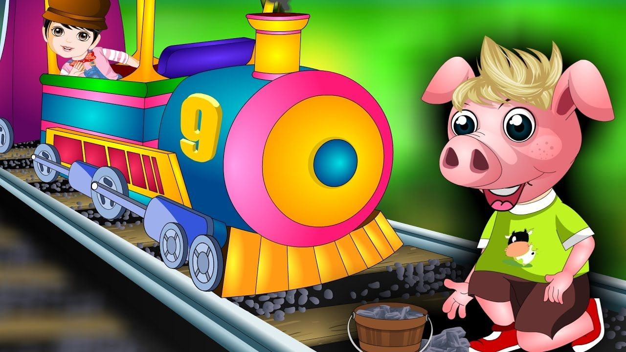 Piggy on the Railway line picking up stones Animated