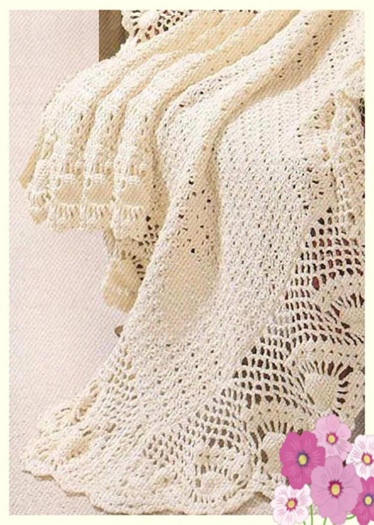 Lacy Patterned Baby Christening Shawl or Blanket | Craftsy ...