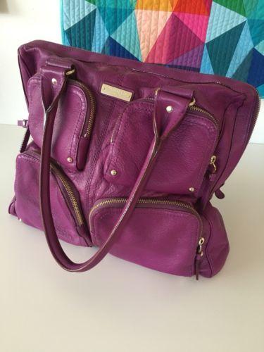 9d28ff8f518c Kate Spade Handbag Purple Stripes Leather Gorgeous EUC
