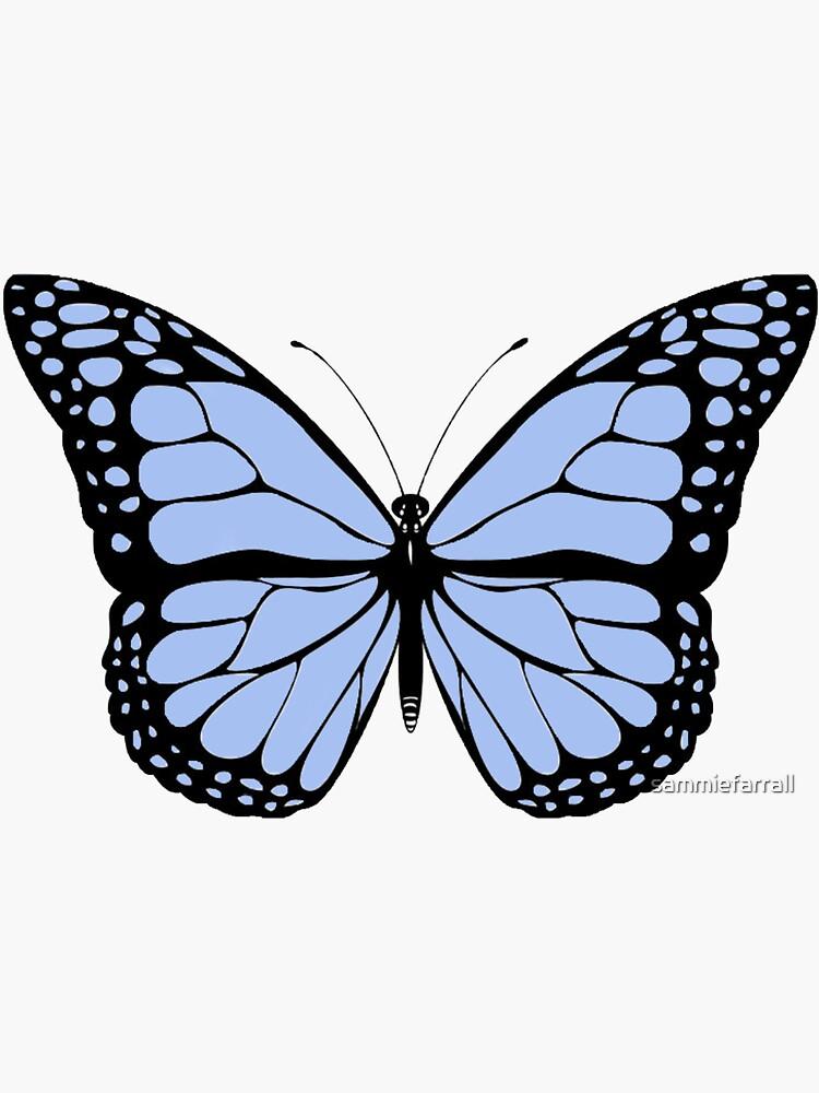 Butterfly Sticker Sticker By Sammiefarrall Redbubble Butterfly Drawing Teal Butterfly Easy Butterfly Drawing